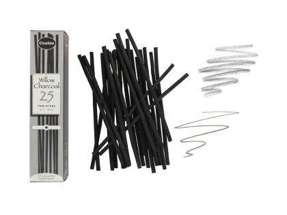 Coates Willow Charcoal 25 Medium Sticks Artists Willow Charcoal Box